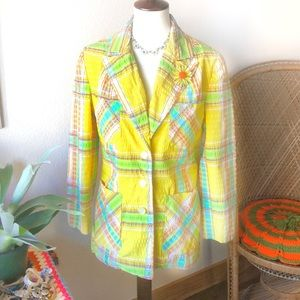 True Vintage🌼60s Rainbow Plaid Blazer!🌼
